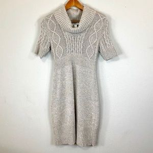 Loft Short Sleeve Sweater Dress Champagne EUC